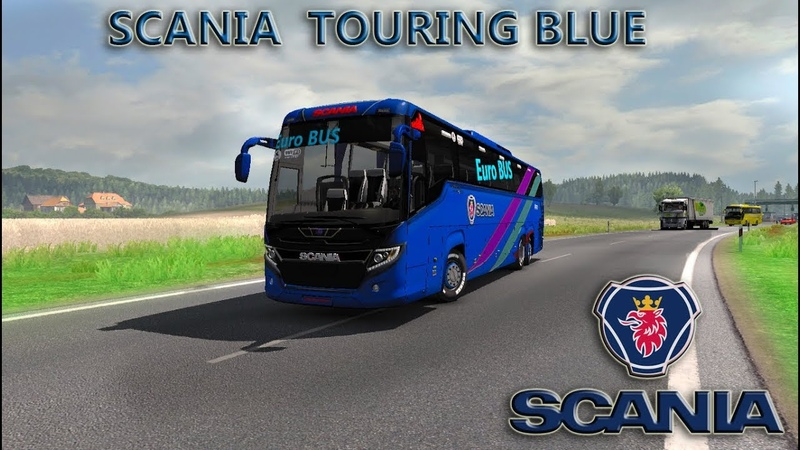 (1) ets2 mods Scania touring Blue Euro bus HD skin with Passenger Fix chassis and air suspension - YouTube