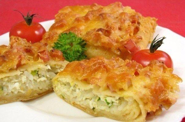 Фаршированные блины, запеченные с ветчиной и сыром Ингредиенты: Блинчиков