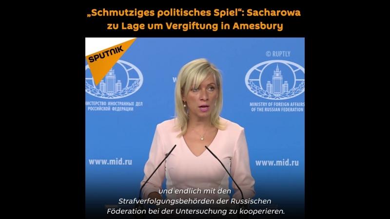 """""""Schmutziges politisches Spiel"""": Sacharowa zu Lage um Vergiftung in Amesbury"""
