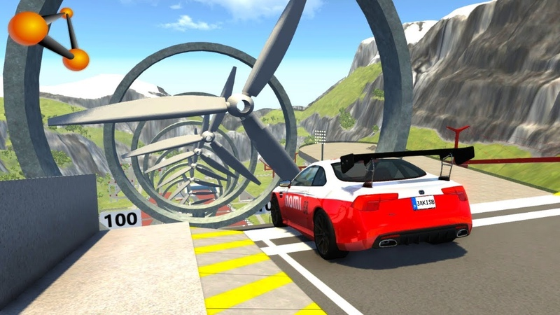 BeamNG.drive - Chained Cars against Wind Turbine