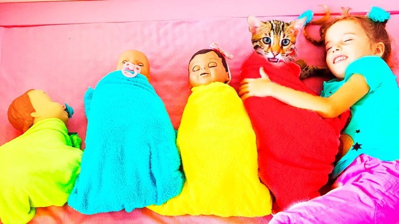 Are you Sleeping Brother John with Baby Dolls and Kitty Nursery Rhymes songs for children
