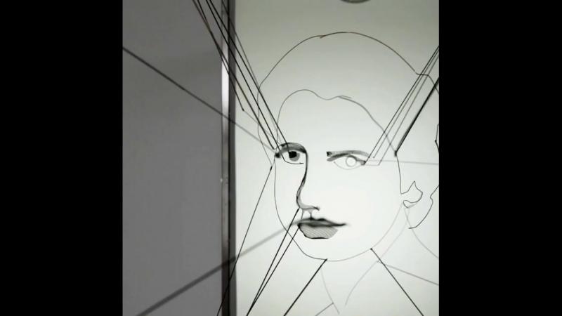 3D anamorphic portrait of Rosalind Franklin