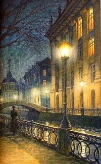 Фонари окунали дом на набережной в теплый янтарный свет, рассеивая ночную темноту.  Темная, масляная вода с легким...