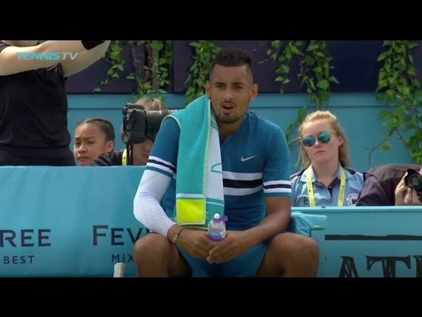 Nick Kyrgios simulates masturbating with a water bottle at Queen's