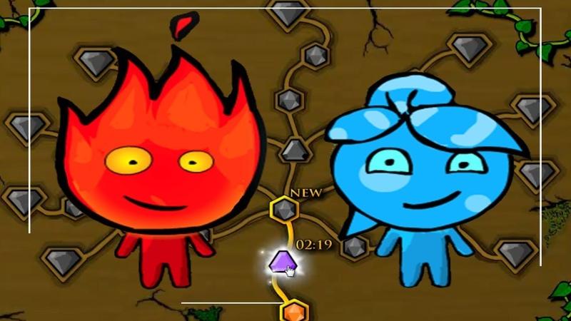 Приключение Огонь и Вода в Лесном Храме 2 Мультик игра для детей. Games for kids.