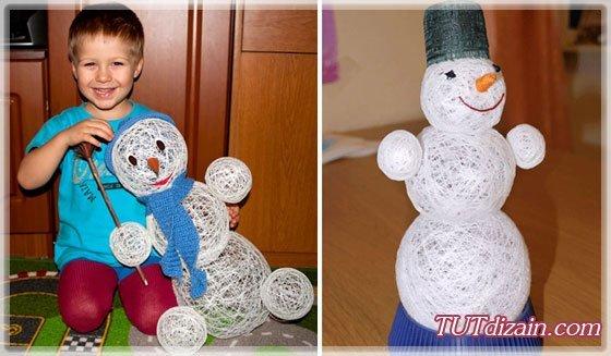 Снеговик из елочных шаров своими руками