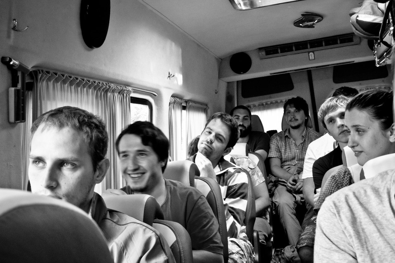 Clickky team is riding the bus to the river