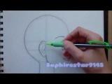 Как нарисовать манга-аниме головы в профиль боковой стороны Учебник (Седзе / Kodomo)