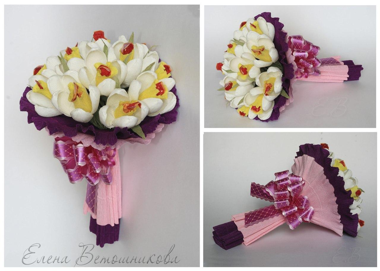 Цветы из конфет в букете своими руками пошаговое фото