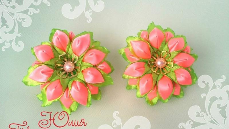 Весенний цветок канзаши мастер класс/ Kanzashi / DIY / Tutorial