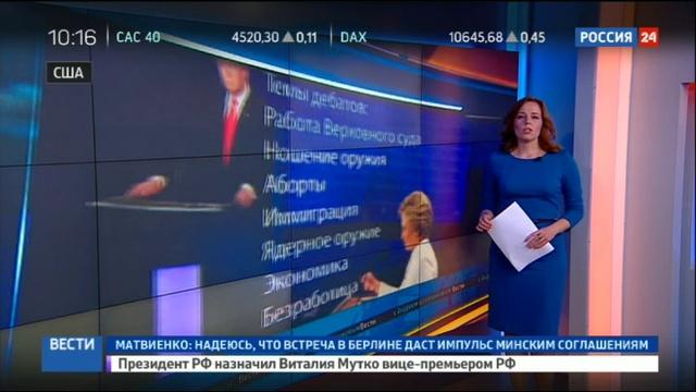 Новости на Россия 24 Финальные дебаты Трамп и Клинтон поспорили о роли Путина