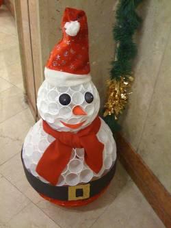 Сделать снеговика своими руками из помпонов