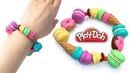 Шарм - браслет. Play Doh Surprise Crafts. DIY How to Make Playdoh CLay Bracelet with Miniature Sweets and Ice Cream