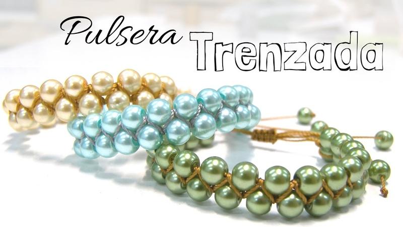 Como hacer una Pulsera Trenzada con perlas redonda - Tutorial DIY