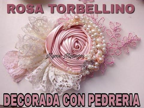 ROSA TORBELLINO CON PEDRERIA, craft,tutorials,how to do bows,tutoriales,vinchas,balacas,cintillos