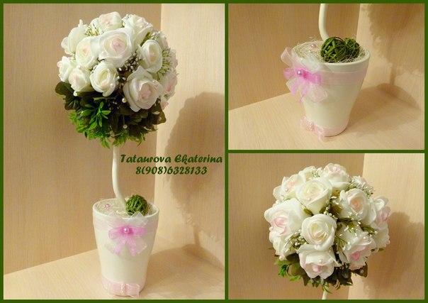 Топиарий белый цветок