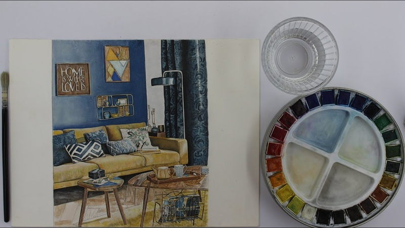 How to sketch interior design with watercolor / Speed Drawing