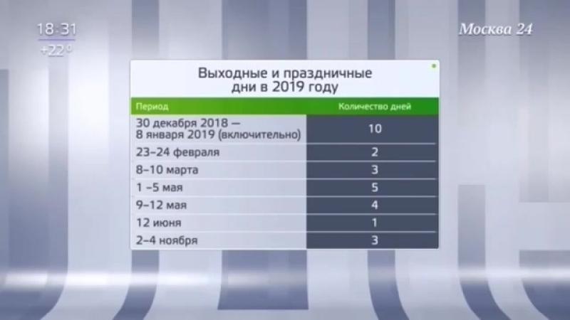 В 2019 году россиян ждут длинные майские каникулы Москва 24