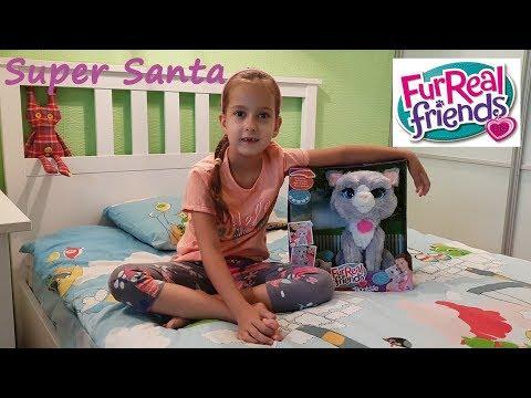 Супер Санта и котенок Бутси 1000 подписчиков Распковка Fur Real Friends Bootsie Unpucking
