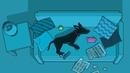 DOG RUNNING IN DREAM SOCIAL ISSUE ADVERTISING CARTOON PARODY NIGHTMARE ON THE ELM STREET PARODY