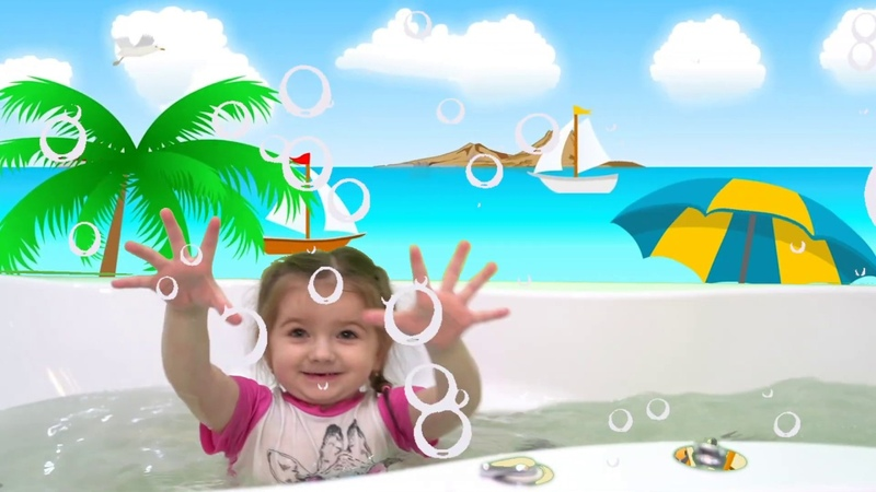Bath song for children from Kira. Songs for children. Swim together. Wash your face.