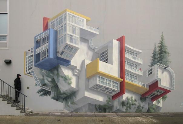 Невесомый стрит-арт Синте Видаль. На стенах предметы, здания и люди улетают и оборачиваются. Эти потрясающие фрески, которые, среди прочего, можно увидеть на улицах Лос-Анджелеса и Гонконга,