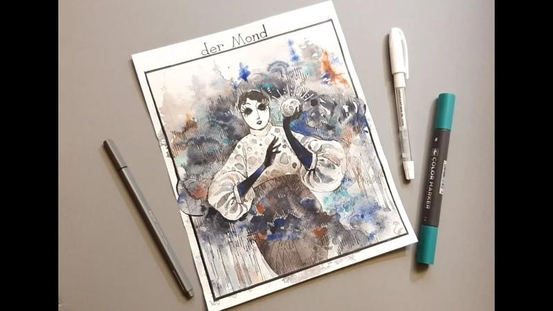 THE MOON watercolor speedpaint