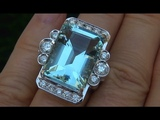 Certified Jewelry Auctions VS1 Natural Aquamarine Diamond 14k White Gold Vintage Ring on eBay - C431
