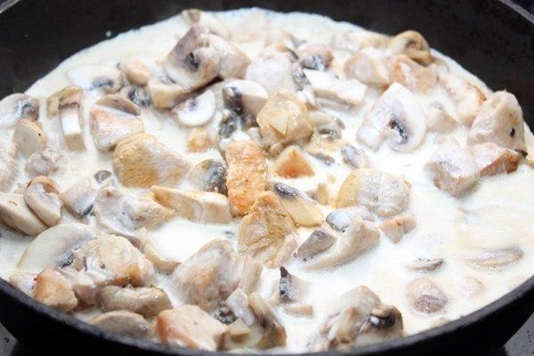 Куриное филе и грибы в сливках в духовке с фото