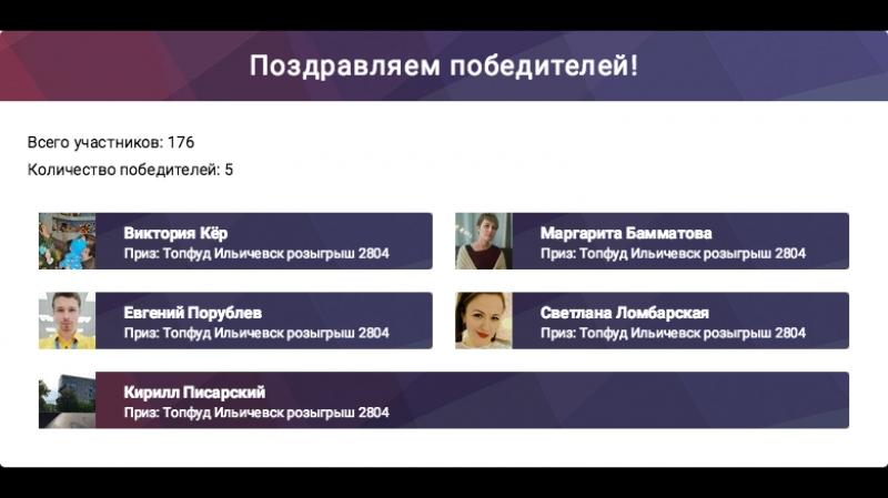 Розыгрыш Ильичевск 28 апреля 5 пицц