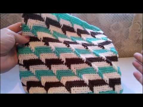 Рельефный узор 3D крючком по кругу Вяжем сумку или подушку O teste padrão gravado 3D faz crochê em