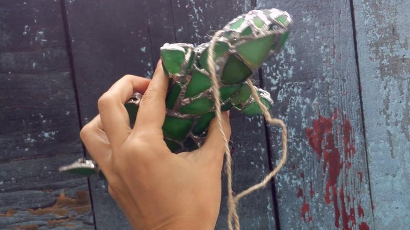 Lizard green figurine, sea stained glass, wall art, suncatcher