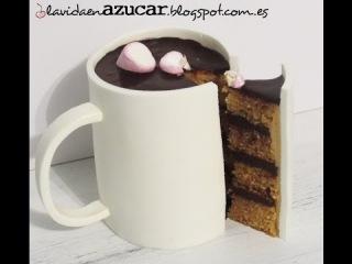 Como hacer un pastel en forma de taza de chocolate