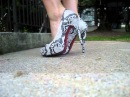 High heels, dangling, barefoot, red toenails, foot tease, shoeplay