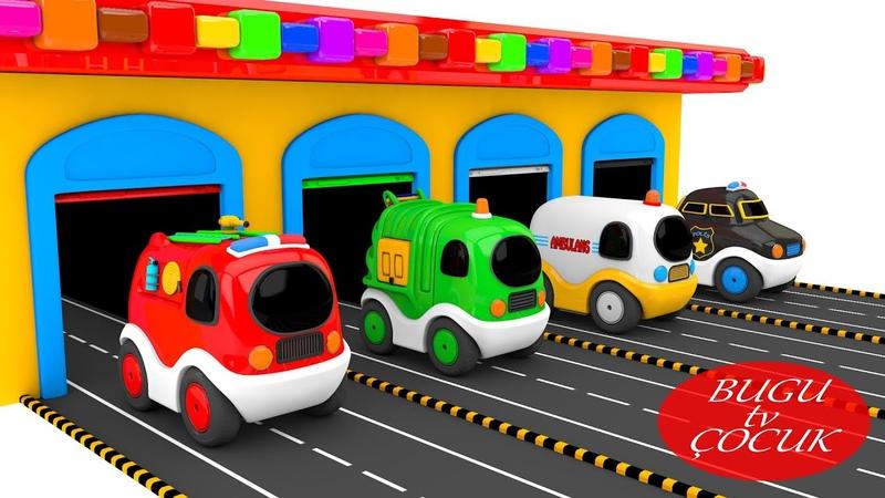 Polis Arabası - İtfaiye - Ambulans ile Renkleri Öğreniyorum - 3D Oyuncak Arabalar