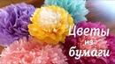 ✺ Цветы из бумаги ✺ тишью или салфеток Очень просто как сделать Цветы пом поны своими руками
