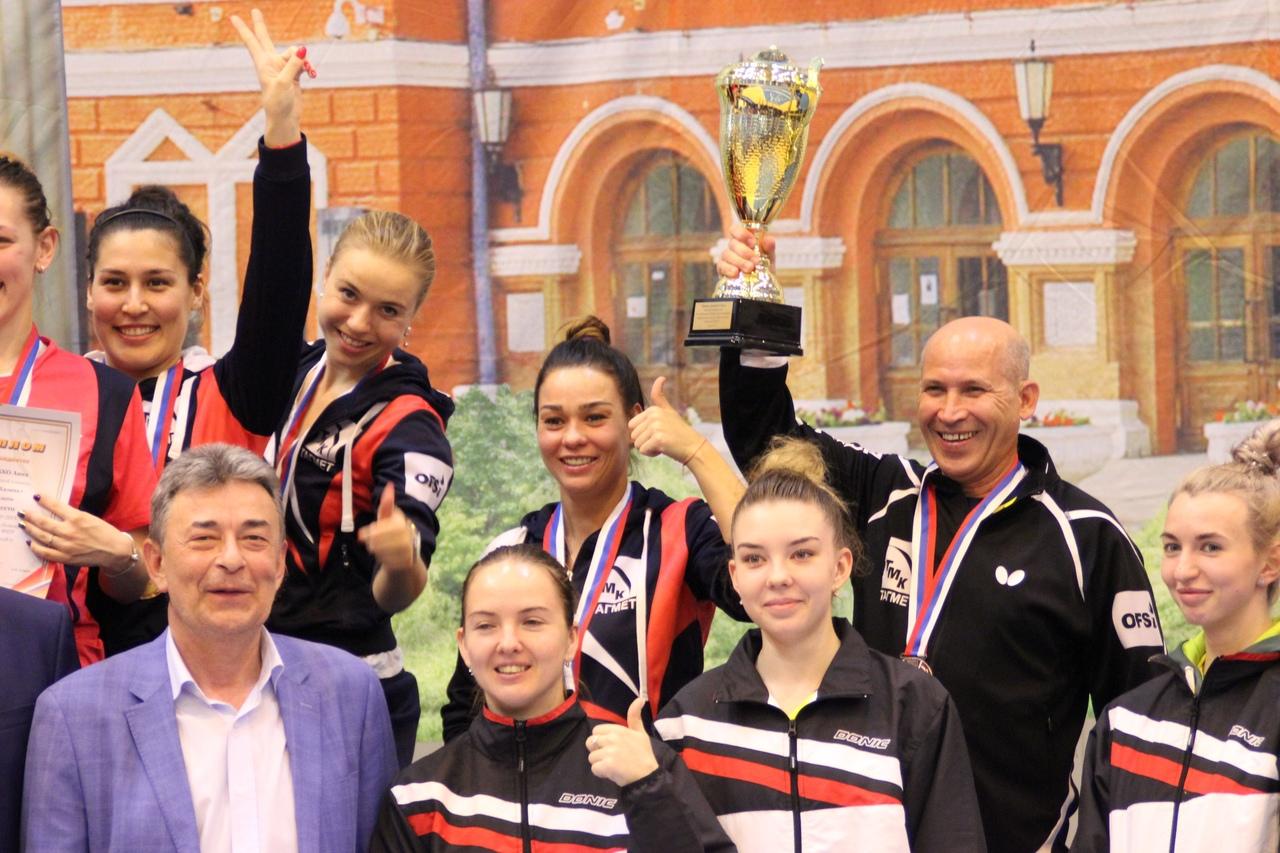 Женская команда «ТМК-Тагмет» во второй раз подряд стала бронзовым призёром чемпионата страны по настольному теннису, одержав в заключительном туре, проходившем в Самаре, пять побед в шести поединках.