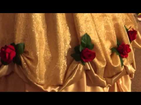 Beauty and the Beast Belle's golden ball gown by Aria Couture
