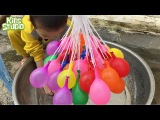 Lot wet Balloons Learn colours For Kids