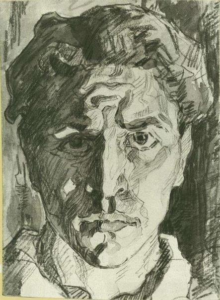 Александр Дейнека, автопортрет, 1916 акварель, 15 х 10,7 см