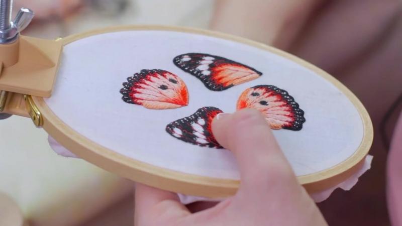 Мастер класс объемная вышивка гладью Брошь бабочка