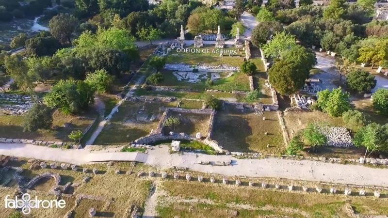 Η αρχαία αγορά από ψηλά, ναός του Ηφαίστου - Ancient Agora temple of Hephaestus, drone video