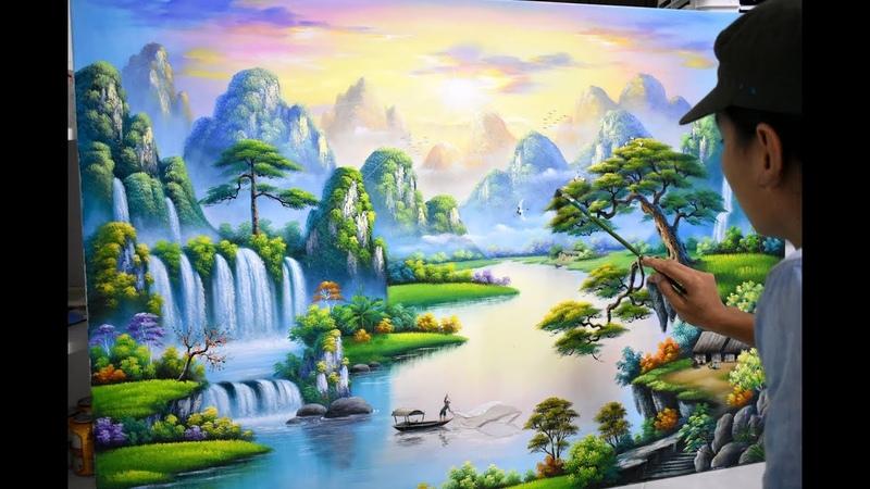 Bài vẽ mẫu tranh sơn thủy K10. Nhận đào tạo vẽ tranh tường. (3d scenery paintings).