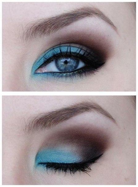 Макияж с голубыми тенями пошагово