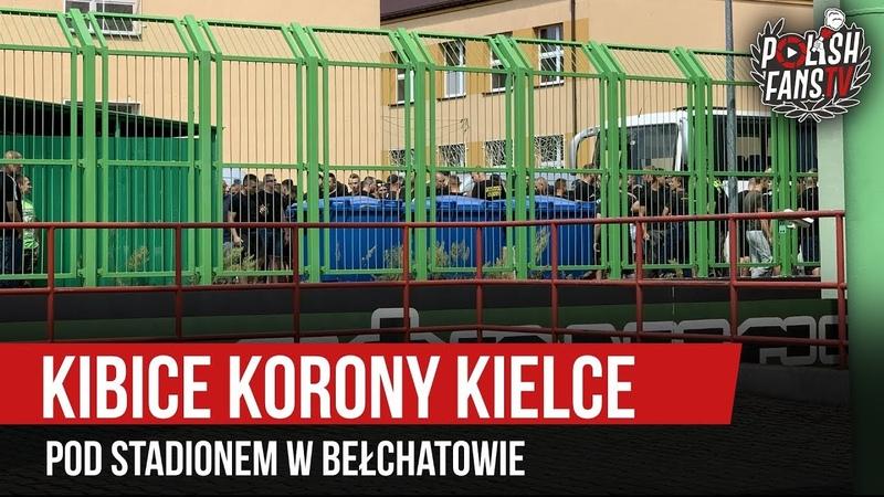 Kibice Korony Kielce pod stadionem w Bełchatowie (20.07.2019 r.)