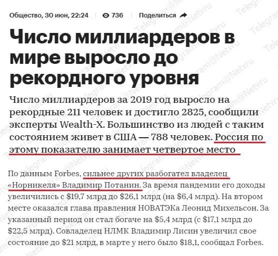 """""""Число миллиардеров в мире выросло до рекордного уровня, а Россия по этому показателю занимает четвертое место"""""""