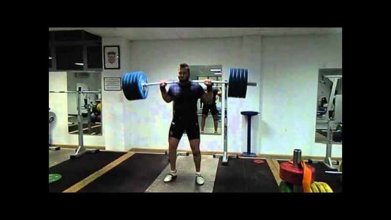 Mesud Pezer Split Jerk behind neck 220kg