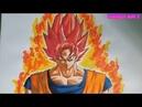 Cách vẽ tranh Goku Super Saiyan God-how to draw-HERO ART