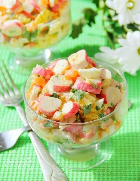 Салат с крабовыми палочками и апельсинами рецепт с пошагово