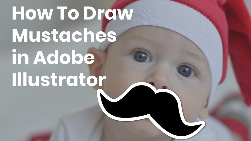 How to quickly draw different types of moustaches in Adobe Illustrator. Illustrator for beginners